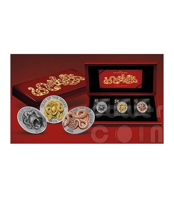 SNAKE THREE DIMENSIONAL 3D Lunar Year Silber Münze Set 500 Francs Rwanda 2013