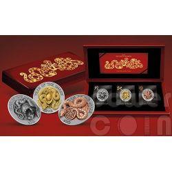 SERPENTE TRIDIMENSIONALE 3D Snake Lunar Year Set Monete Argento 500 Franchi Ruanda 2013