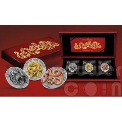 SNAKE THREE DIMENSIONAL 3D Lunar Year Silver Coin Set 500 Francs Rwanda 2013