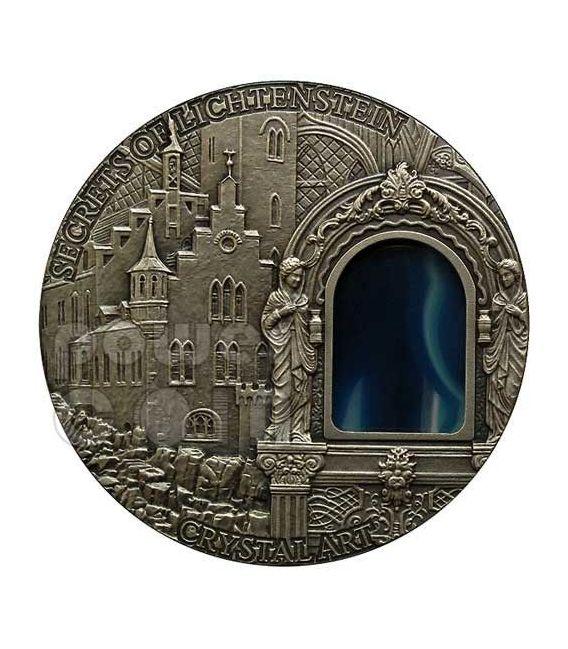 SECRETS OF LICHTENSTEIN Crystal Art Castle Schloss Moneta Argento 2 Oz 2$ Niue 2012