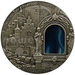 SECRETS OF LICHTENSTEIN Crystal Art Castle Schloss Moneta Argento 2 Oz 2$ Niue 2012