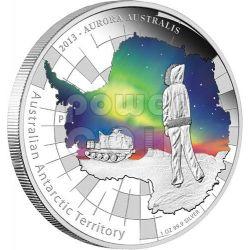 AURORA AUSTRALIS Australian Antarctic Territory Silver Coin 1$ Australia 2013