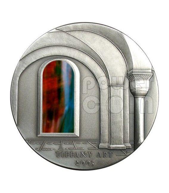 TIFFANY ART ROMANESQUE 2 Oz Moneda Plata 10$ Liberia 2005