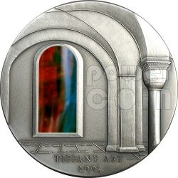 TIFFANY ART ROMANESQUE 2 Oz Moneda Plata 10$ Liberia 2005