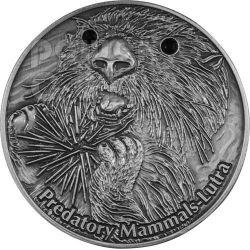 LUTRA Lontra Mammiferi Predatori Predatory Mammals Moneta Argento 10$ Fiji 2012
