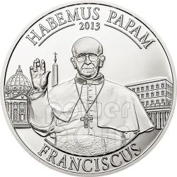 HABEMUS PAPAM Pope Francis Jorge Bergoglio Silver Coin 5$ Cook Islands 2013