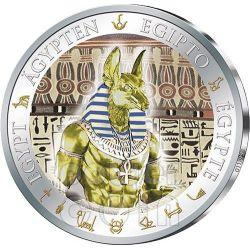 ANUBI Dorata Anubis Egitto Moneta Argento 1$ Fiji 2012