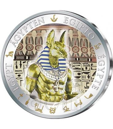 ANUBIS Gilded Ancient Egypt Silver Coin 1$ Fiji 2012
