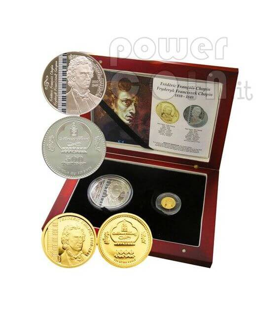 FREDERIC CHOPIN Set 2 Monete Oro Argento Mongolia 2008