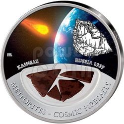 METEORITE KAINSAZ Cosmic Fireballs Moneta Argento 10$ Fiji 2012