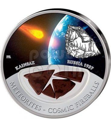 METEORITE KAINSAZ Cosmic Fireballs Silver Proof Locket Coin 10$ Fiji 2012