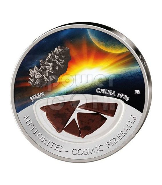 METEORITE JILIN Cosmic Fireballs Moneta Argento 10$ Fiji 2012