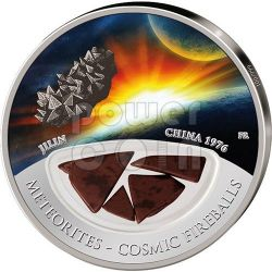 METEORITE JILIN Cosmic Fireballs Silver Proof Locket Coin 10$ Fiji 2012