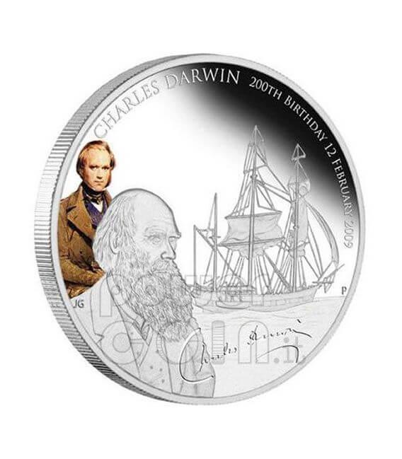 CHARLES DARWIN 200 Anniversario Moneta Argento 1$ Tuvalu 2009
