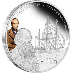 CHARLES DARWIN 200th Anniversary Silver Coin 1$ Tuvalu 2009