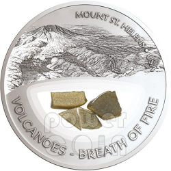 MOUNT ST HELENS Volcanoes Breath Of Fire Silver Proof Locket Coin 10$ Fiji 2013