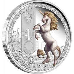 UNICORNO Creature Mitologiche Mythical Creatures Moneta Argento 1$ Tuvalu 2013