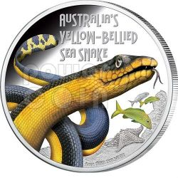 YELLOW BELLIED SEA SNAKE Australia Deadly Dangerous Serpente Acquatico Moneta Argento 1$ Tuvalu 2013