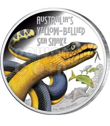 YELLOW BELLIED SEA SNAKE Australia Deadly Dangerous Serpente Acquatico Moneta Argento 1$ Tuvalu 2013