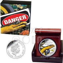 YELLOW BELLIED SEA SNAKE Australia Deadly Dangerous Silver Coin 1$ Tuvalu 2013
