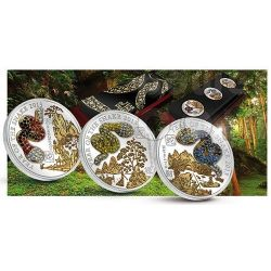 SNAKE PAVE 3D Lunar Year 3 Silver Coin Set 500 Francs Rwanda 2013