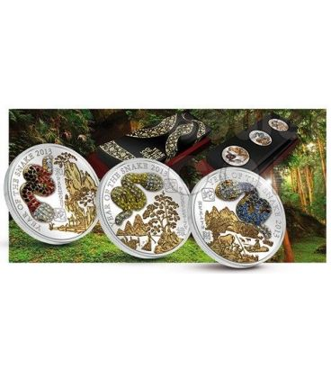 SERPENTE PAVE 3D Snake Lunar Year Set 3 Monete Argento 500 Franchi Ruanda 2013