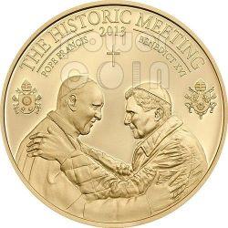 HISTORIC MEETING Pope Francis Benedict XVI Bergoglio Ratzinger Coin 1$ Palau 2013