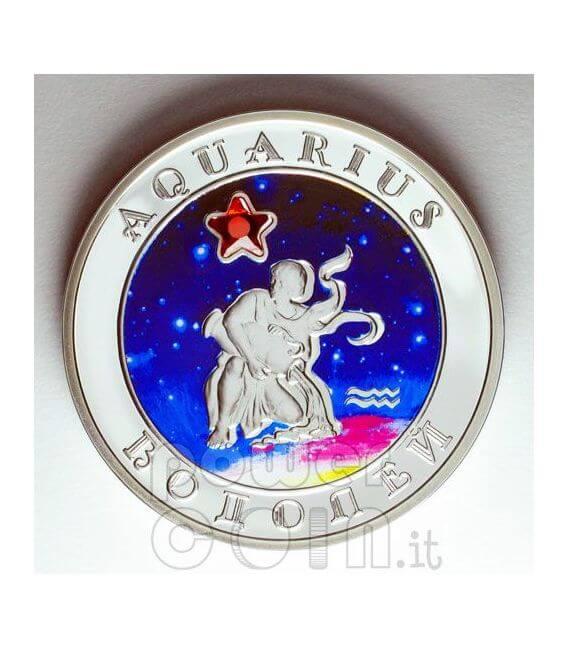 AQUARIUS Horoscope Zodiac Zircon Серебро Монета Армения 2008