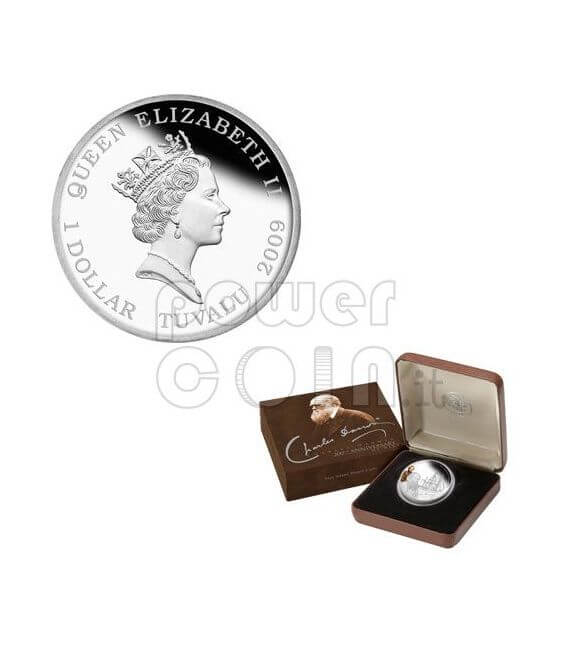 CHARLES DARWIN 200th Anniversary Silber Münze 1$ Tuvalu 2009