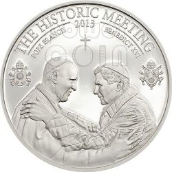 HISTORIC MEETING Pope Francis Benedict XVI Bergoglio Ratzinger Silver Coin 5$ Palau 2013