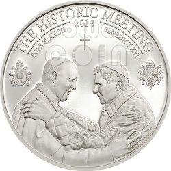 INCONTRO STORICO Papa Francesco Benedetto XVI Bergoglio Ratzinger Moneta Argento 5$ Palau 2013