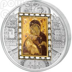 VERGINE DI VLADIMIR Theotokos Moneta Argento Oro 20$ Cook Islands 2013