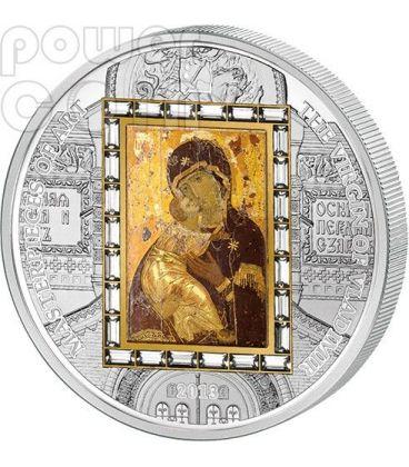 VIRGIN OF VLADIMIR Theotokos Silver Gold Coin 20$ Cook Islands 2013