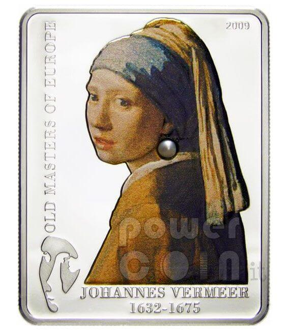 VERMEER Girl Pearl Earring Moneda Plata 5$ Cook Islands 2009