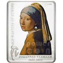 VERMEER Girl Pearl Earring Silver Coin 5$ Cook Islands 2009
