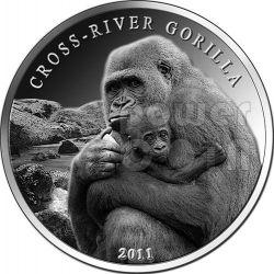GORILLA DEL CROSS RIVER Moneta Argento 1 Oz 1000 Franchi Camerun 2011