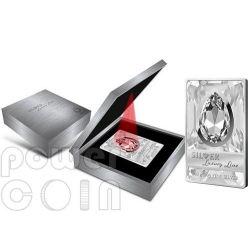 SILVER LUXURY LINE II Moneta Argento Swarovski Bianco 20$ 100 grammi Cook Islands 2013
