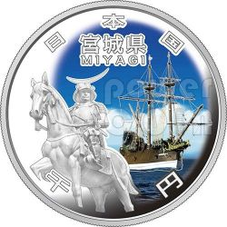 MIYAGI 47 Prefectures (26) Silver Proof Coin 1000 Yen Japan Mint 2013