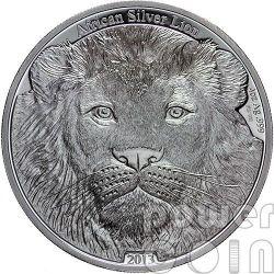 AFRICAN LION 4 Oz Серебро Монета 5000 Франков Конго 2013