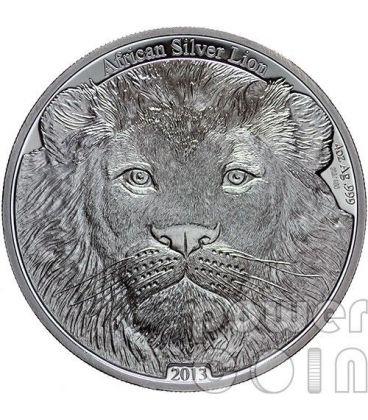 LEONE AFRICANO African Lion Moneta Argento 4 Oz 5000 Franchi Congo 2013