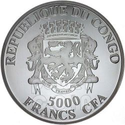 AFRICAN LION 4 Oz Moneda Plata 5000 Francs Congo 2013