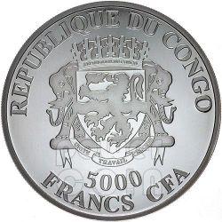 AFRICAN LION 4 Oz Silver Coin 5000 Francs Congo 2013