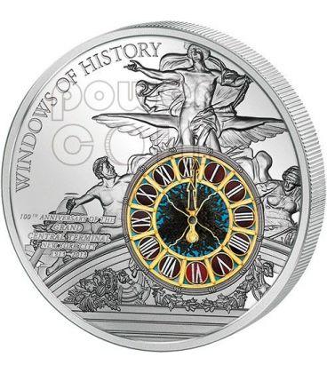 GRAND CENTRAL TERMINAL Windows Of History 100 Anniversario Moneta Argento 10$ Cook Islands 2013