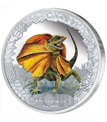 FRILLED NECK LIZARD Remarkable Reptiles Silver Proof Coin 1$ Tuvalu 2013