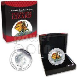 FRILLED NECK LIZARD Remarkable Reptiles Plata Proof Moneda 1$ Tuvalu 2013