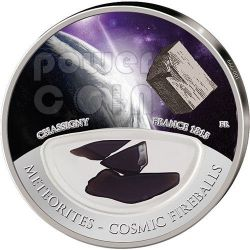 METEORITE CHASSIGNY Cosmic Fireballs Moneta Argento 10$ Fiji 2013