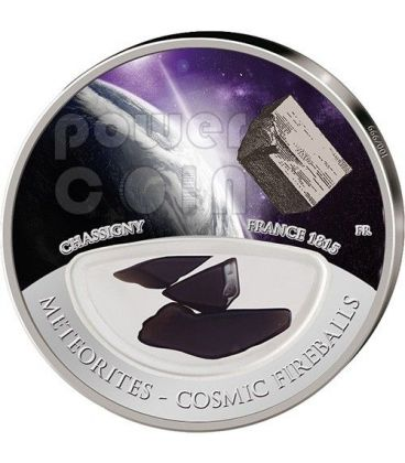 METEORITE CHASSIGNY Cosmic Fireballs Silver Proof Locket Coin 10$ Fiji 2013