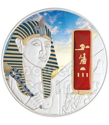 HATSHEPSUT Egypt Queen Silver Palladium Gold Red Jasper Gemstone Coin 2 Oz 50$ Fiji 2012