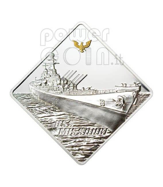 USS MISSOURI Battleship 2 Oz Moneda Plata 10$ Palau 2008