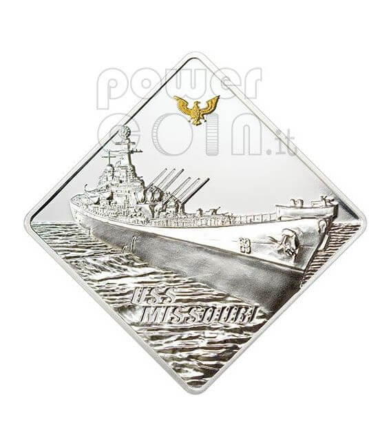 USS MISSOURI Battleship 2 Oz Silber Münze 10$ Palau 2008